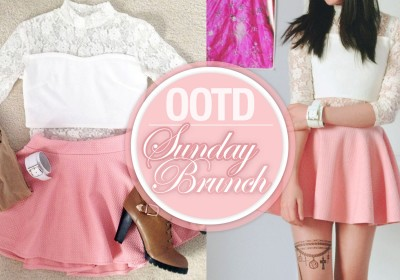 OOTD-Sunday-Brunch-pastel-pink-skater-skirt-snidel-lace-crop-top-tattoo-tights-brown-boots-bracelet-INTRO